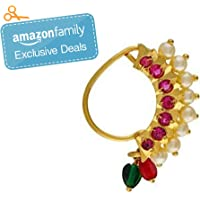 Vail Creations Traditional Maharashtrian Nath Multicolour Gold Plated Without Piercing Press or Clip on Type Nose Ring…