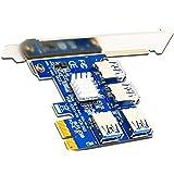 Rekuopl Riser Carte PCI-E vers PCI-E 1 à 4 1X à 16X USB 3.0 pour miner Bitcoin BTC GerrTe