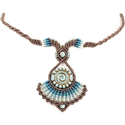 Collana etnica in Macramè - Centro in vetro di boemia colori turchese e bronzo - Sfera in Turchese Africano - Perline in vetro - Idea confezione regalo