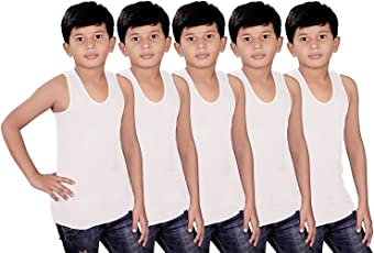 Kids Basket Gypsy Boys 100% Pure Cotton Kids White Vest Inner wear Brief (Pack of 5) - Regular Use