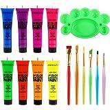 UV-Licht Bodypainting, Neon Schminke ETEREAUTY Körperfarbe Schwarzlicht fluoreszierende farbe Schminke 8 x 28 ml für…