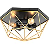Karmiqi Black and Gold Ceiling Light Fixtures, 3-Light Modern Ceiling Lamp with Metal Wire Cage, Farmhouse Geometric Flush Mo