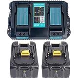 2x 18V 5.0Ah BL1850 Batteri med Laddare DC18RD 2-delad Dubbel Snabbladdare för Makita BL1830 BL1840 BL1850B, Makita Radio DMR