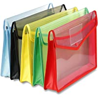 VIZMARK®️ Envelope Folder Transparent Poly-Plastic A4 Documents File Storage Bag with Snap Button Certificate Documents…