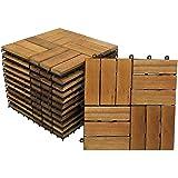 SAM Terrassenfliese 02 Akazien-Holz FSC®100%, 11er Spar-Set für 1m², 30x30 cm, Garten- Klickfliese, Bodenbelag, Drainage