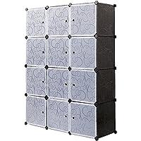 Meerveil Armoire Penderie Portable, Étagère de Rangement, Cubes de Stockage Modulaire en Plastique en métal Stable…
