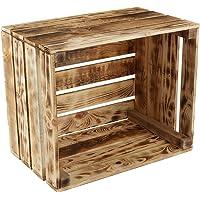 GrandBox Caisse en Bois flammé Flame-Box, Caisse à vin, Caisse à Fruits, Caisse de décoration, Rangement Vintage Shabby…