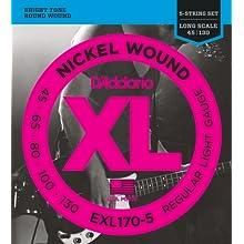 D'Addario EXL170-5 XL Nickel Wound Regular Light (.045-.130) 5-String Electric Bass Guitar Strings