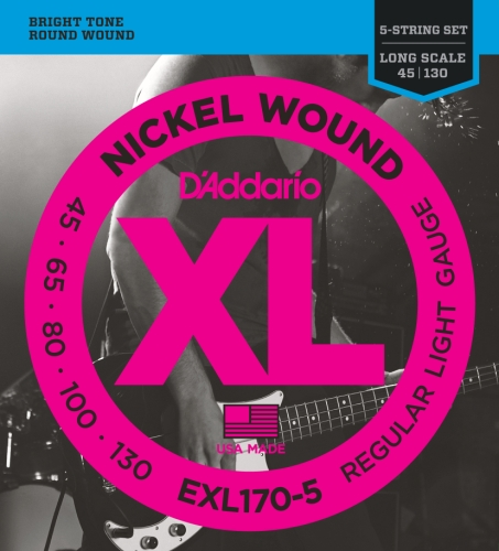 DADDARIO EXL170 5 XL NICKEL WOUND REGULAR LIGHT   CUERDAS PARA BAJO ELECTRICO  ( 045  130) PACK DE 5