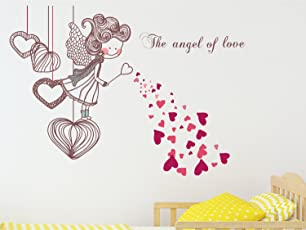 Amazon Brand - Solimo Wall Sticker for Kids' Room (Angel of Love, Ideal Size on Wall, 100 cm X 72 cm)