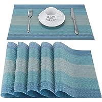 CHAOCHI Set de Table PVC Antidérapant Lavable Résiste à la Chaleur Rectangulaire Vinyle Sets de Table pour Restaurant…