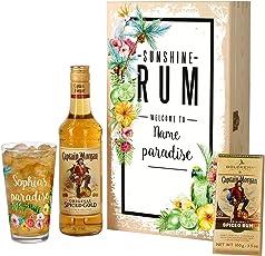 Privatglas tropisches Captain Morgan Geschenkset mit bedruckten Longdrink-Glas in karibischer Geschenkverpackung