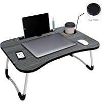 Tesseract Multipurpose Foldable Laptop Table with Cup Holder, Study Table, Bed Table, Breakfast Table, Foldable and Portable/Ergonomic & Rounded Edges/Non-Slip Legs | TR-Leptop Tebal