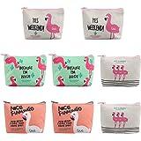 Dadabig 8 Stück Flamingo Geldbörse, Mini Handtaschen Münzen Portemonnaie Geldbeutel mit Reißverschluss Niedliche Leinwand Bri