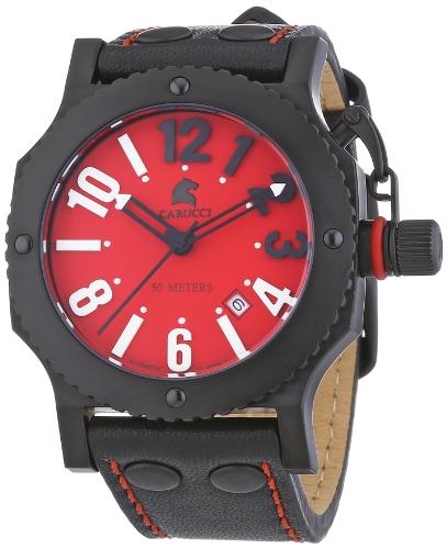 Carucci Watches CA2210RD-BK - Orologio da polso unisex, pelle, colore: nero