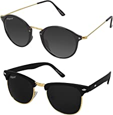 elegante' Combo of UV protected Black Clubmaster & Round Sunglasses for Boys