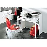 Skraut Home - Bureau Informatique Extensible, Table d´appoint de Studio pour Ordinateur, 2 tiroirs, Blanc Brillant, 98,6x86,9