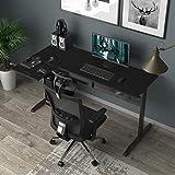 DlandHome Bureau de Jeu Bureau Informatique en Forme L Gaming Desk Jeu Table pour Ordinateur Portable Angle Station de Travai