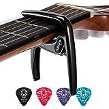 Donner Capodastre de Guitare Métallique avec Médiators Capo de Guitare Acoustique/Electrique