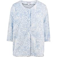 Slenderella Ladies Floral Jacquard Bed Jacket Button Up Super Soft Fleece Housecoat (Small - XXL)