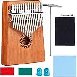 Kalimba 17 Clés Pouce Piano avec instructions d'étude, Haute Qualité Doigt Instrument, Tuning Hammer, bois Acajou, Marimba Ca