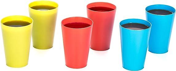 All Time Plastics Glass Set, 400ml, Set of 6, Multicolour