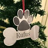 Personalised Christmas Tree Decoration - Xmas Bauble Engraved Gift - Dog Bone with Optional Name Picture Photo Frame…