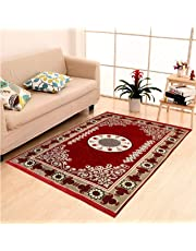 Red and Golden -Color Traditional Kashmiri, Anti Static, Water Repellent Multi Purpose Cotton Kalin, Carpet for Bedroom, Living Room, Rugs and Carpet- 5x7 Feet