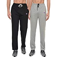 VIMAL JONNEY Men's Grey and Black Cotton Trackpants (Pack of 2)