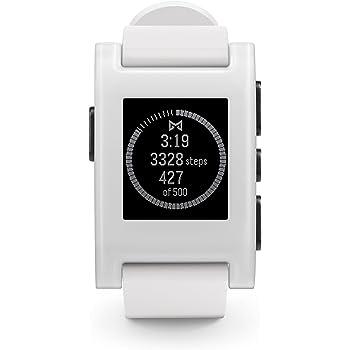 Pebble Original Smartwatch con Cassa Policarbonato, Cinturino Silicone, Bianco