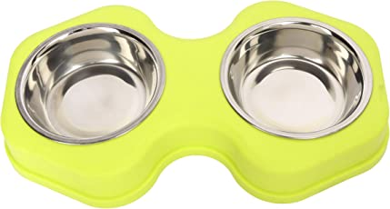 SRI High Quality Food & Water Stainless Steel 2 in 1 Bowl Set for Dog (Style-Q)