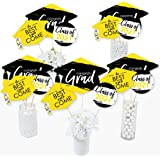 Big Dot of Happiness Yellow Grad - Best is Yet to Come - 2021 Yellow Graduation Party Centerpiece Sticks - Table Toppers - Se