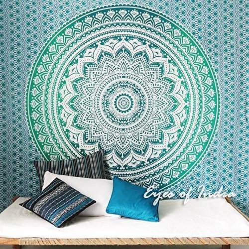 Eyes of India Doble Azul Degradado Mandala Elefante Colcha Tapiz Playa Boho Bohemio Indio - Verde #1, 84 X 94 in. (213 X 238 cm)