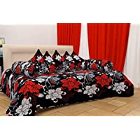 Flaunting Homes Super Soft Glace Cotton Designer 8 Pieces Modern Beautiful Diwan Set(1 Diwan Sheet, 2 Bolster Covers and 5 Cushion Covers) Black Floral