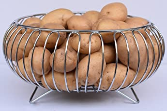 Planet Heavy Stainless Steel Vegetable and Fruit Bowl Basket - Nickel Chrome Plated (Silver Steel, ss-fruit-stand-matka)