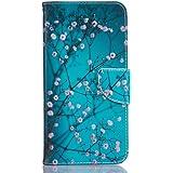 Mo-beauty® Coque portefeuille pour iPhone 7[avec protecteur d'écran ] Motif coloré Avec fente pour carte et fonction support arrière, Cuir synthétique, Plum Blossom, iPhone 7 Plus