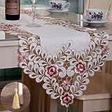 Chemin de table décoratif rétro TeeRFU – 40 x 177 cm, broderie florale creuse, linge de table d'automne, Lin, Multicolore, 16