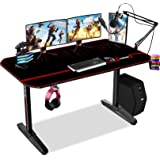 Himimi 55'' Bureau Gaming, 140 x 61 x 76 cm Ergonomic Bureau Gamer Bureau Gaming PC, Gaming Desk pour Bureau à domicile avec