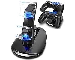 PS4 Dual Controller Caricatore, Likorlove Stazione di Ricarica per PS4, Dual USB Supporto di Carico del Caricatore per Playst