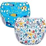 Luxja Riutilizzabile Pannolini da nuoto (Confezione da 2), Costume Pannolino Lavabili, Impermeabile Pannolino Piscina (0-3 an