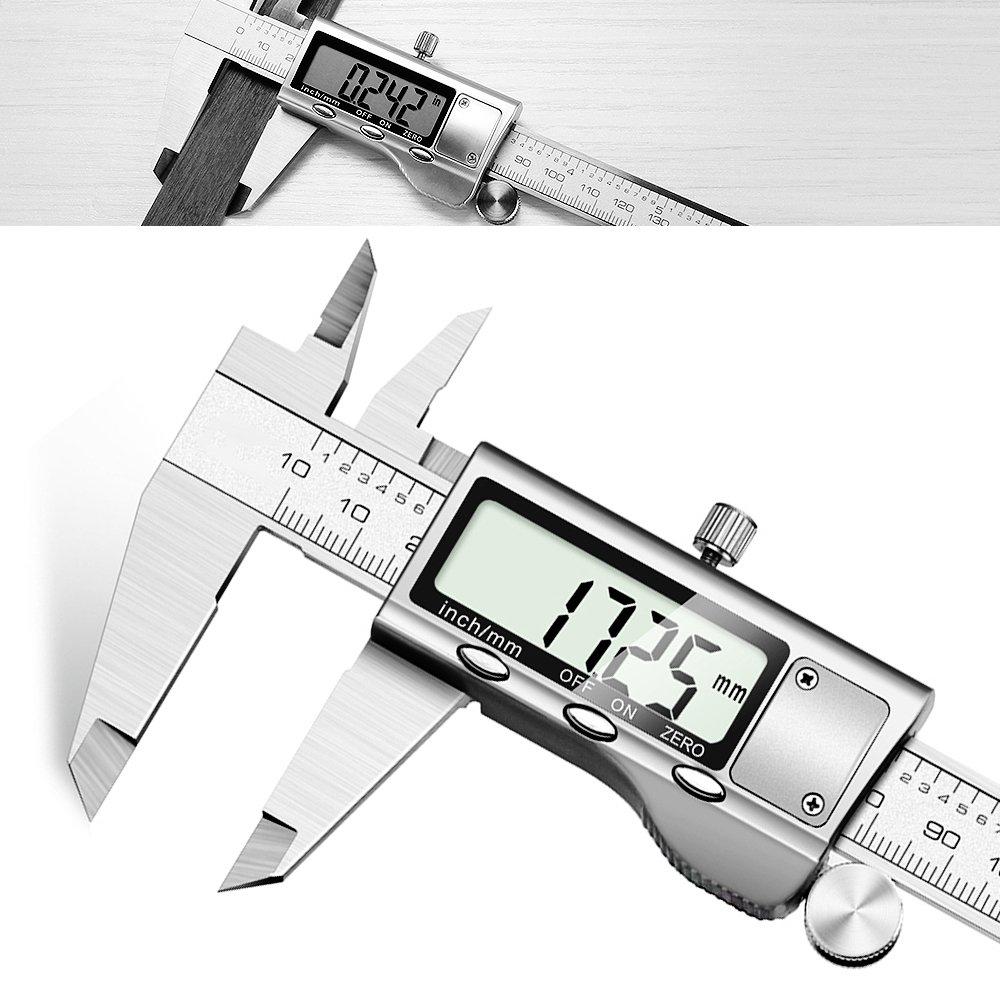 Calibres Digitales – JUNING Pinza digital electrónica de acero inoxidable de 150 mm, medición precisa y rápida, lectura fácil