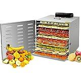 GCSJ Tout acier Inoxydable 10 Étages Déshydrateur Alimentaire, Thermostat Réglable 30°C-90°C et Minuteur de 24h, avec 10 SS304 Feuille de maille, Déshydrateur Pour Fruits, Légumes et Viandes