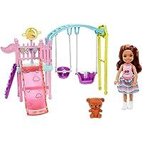 Barbie Famille Coffret mini-poupée Chelsea brune et sa balançoire, figurine nounours et accessoires inclus, jouet pour…