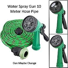 Heavan Water Spray Gun 10 Meter Hose Pipe- House, Garden & Car Wash Hose Pipe (Color May Vary)