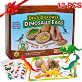 12 Stück Dinosaurier Eier Party Supplies Spielzeug, Dino Eier Dig Kit, Dino Eier Ausgraben Dinosaurier Party Favors STEM Spielzeug für Kinder im Alter von 4 5 6 + (2 Stück Tätowierungen).