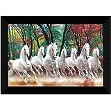 SAF 7 Running Horses Nature UV Teatured Digital Reprint Framed Painting (11 inch X 14 inch) SANFK56