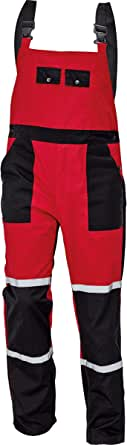 DINOZAVR Tayra Mens Work Oil Resistant Waterproof Bib and Brace Dungarees for Mechanics - Red