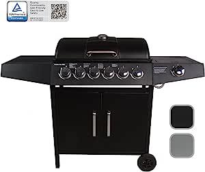 CCLIFE Barbecue à gaz, 6+1 Brûleurs Barbecue Compact Allumage Piézo intégré Thermomètre intégrée, Noir