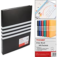 TRANBO Clear Plastic Cover Presentation Display File Folder, 100 Pockets, A4 Size (Black)