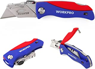 Workpro Quick-change Folding Utility Knife ABS Handle with 5 Extra Blades Included